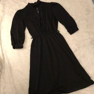 Adorable Vintage Sheer Black with Lace Dress